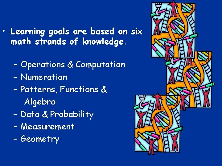 • Learning goals are based on six math strands of knowledge. – Operations