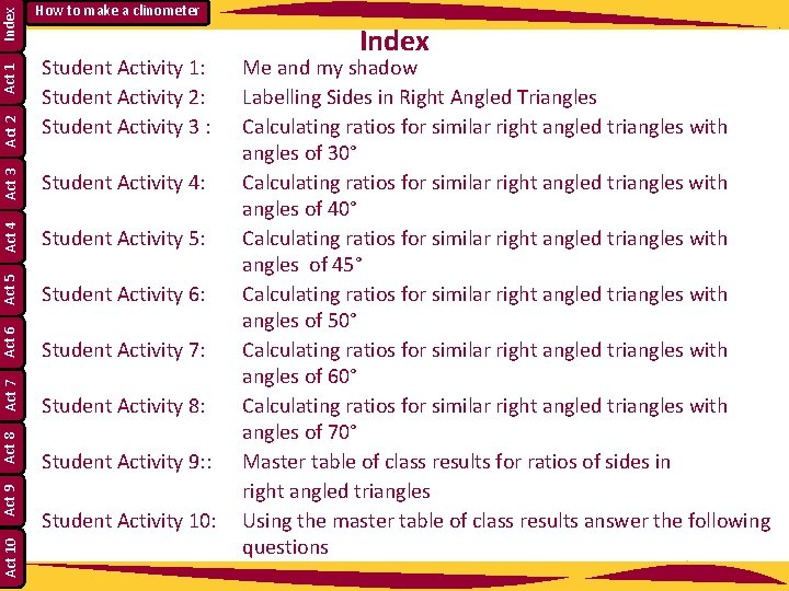 Index Act 1 Act 3 Act 4 Student Activity 5: Act 5 Student Activity