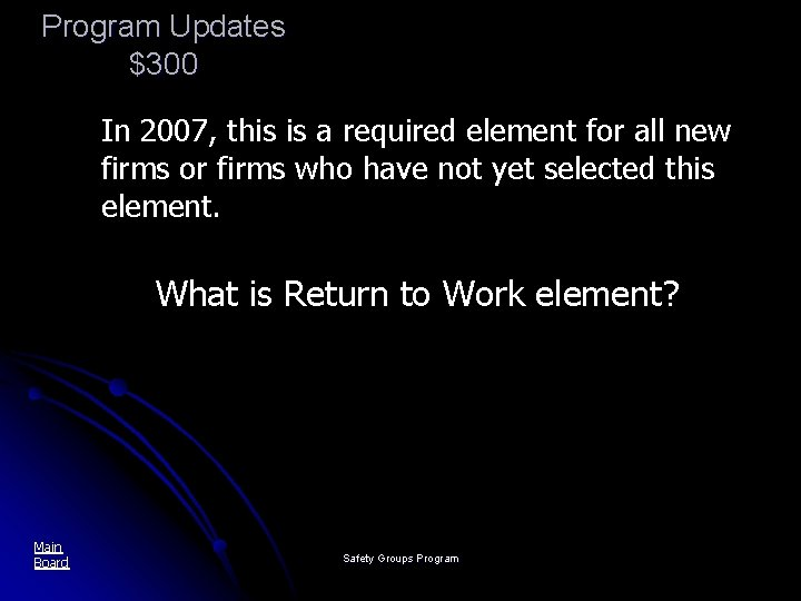 Program Updates $300 In 2007, this is a required element for all new firms