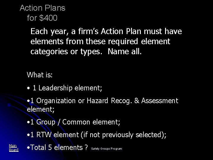 Action Plans for $400 Each year, a firm's Action Plan must have elements from