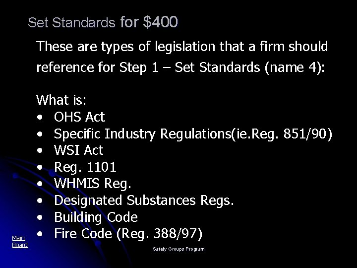 Set Standards for $400 These are types of legislation that a firm should reference