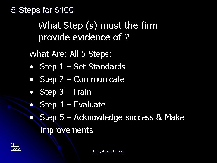 5 -Steps for $100 What Step (s) must the firm provide evidence of ?