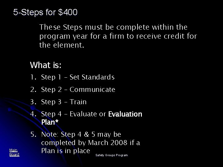 5 -Steps for $400 These Steps must be complete within the program year for