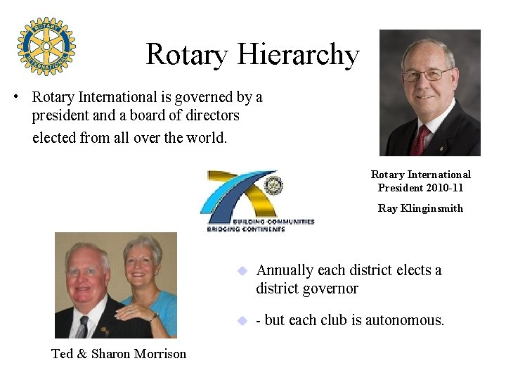 Rotary Hierarchy • Rotary International is governed by a president and a board of