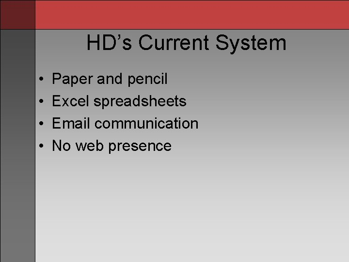 HD's Current System • • Paper and pencil Excel spreadsheets Email communication No web