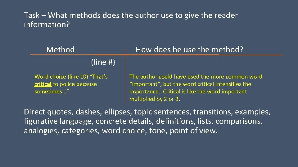 Task – What methods does the author use to give the reader information? Method
