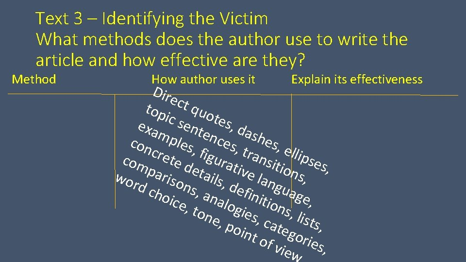 Text 3 – Identifying the Victim What methods does the author use to write