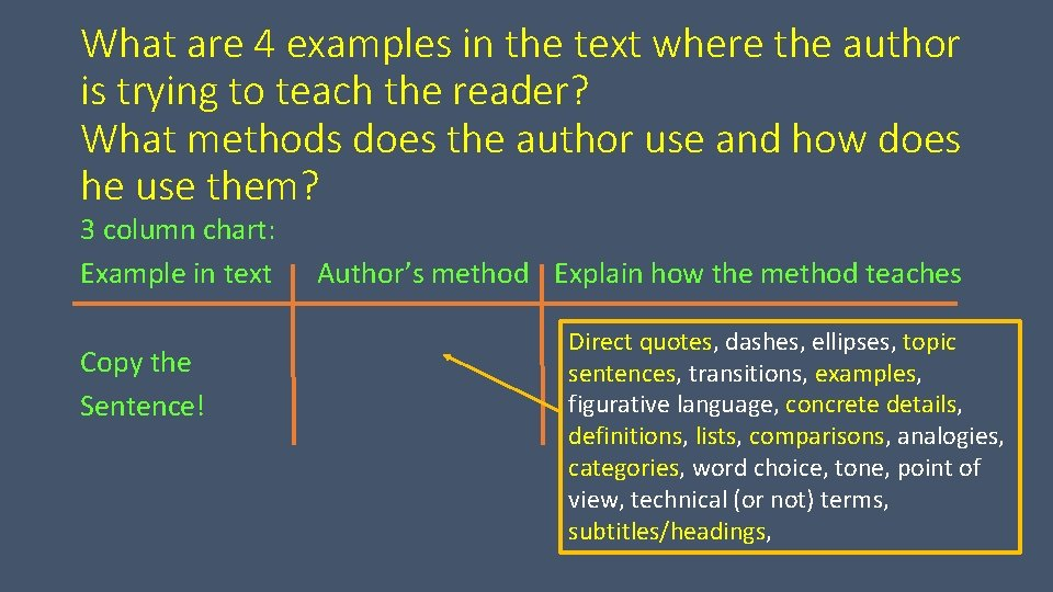 What are 4 examples in the text where the author is trying to teach