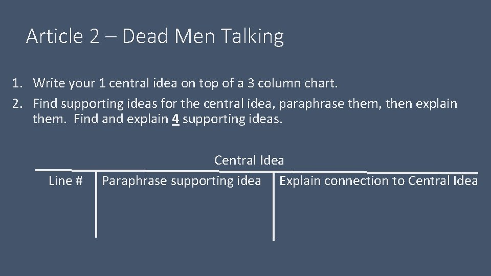 Article 2 – Dead Men Talking 1. Write your 1 central idea on top