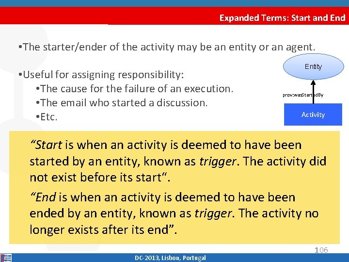 Expanded Terms: Start and End • The starter/ender of the activity may be an