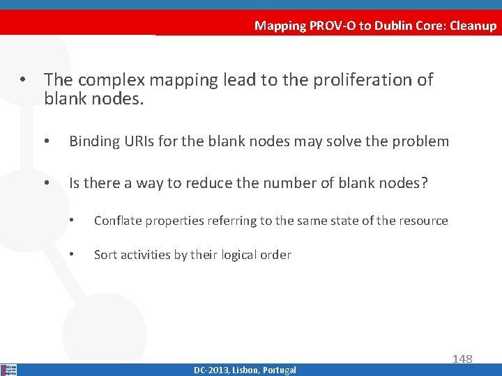 Mapping PROV-O to Dublin Core: Cleanup • The complex mapping lead to the proliferation