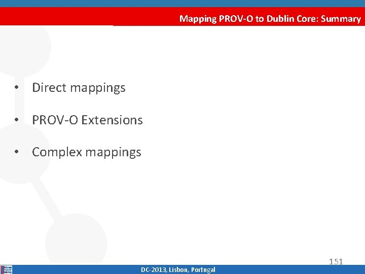 Mapping PROV-O to Dublin Core: Summary • Direct mappings • PROV‐O Extensions • Complex