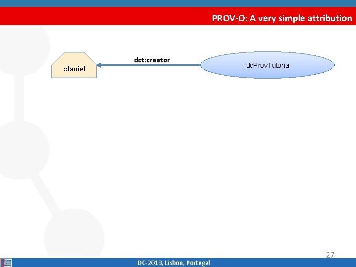 PROV-O: A very simple attribution : daniel dct: creator DC‐ 2013, Lisbon, Portugal :