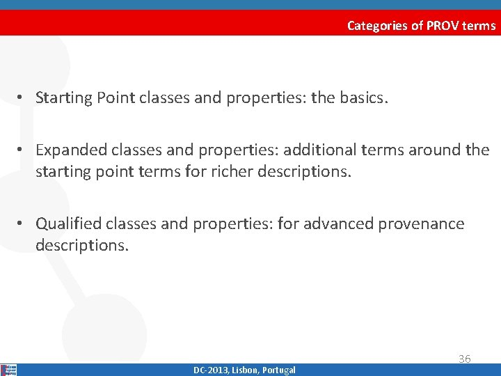 Categories of PROV terms • Starting Point classes and properties: the basics. • Expanded