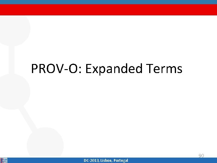 PROV‐O: Expanded Terms DC‐ 2013, Lisbon, Portugal 90