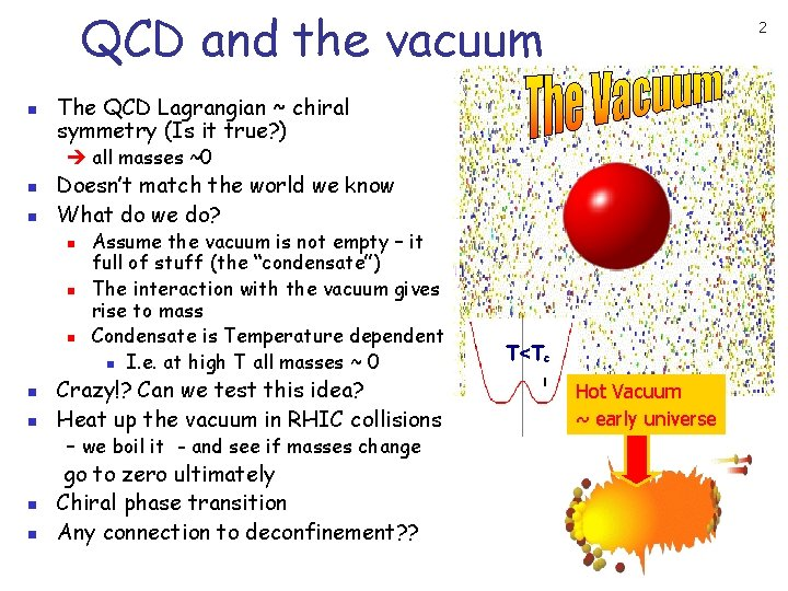 QCD and the vacuum n 2 The QCD Lagrangian ~ chiral symmetry (Is it