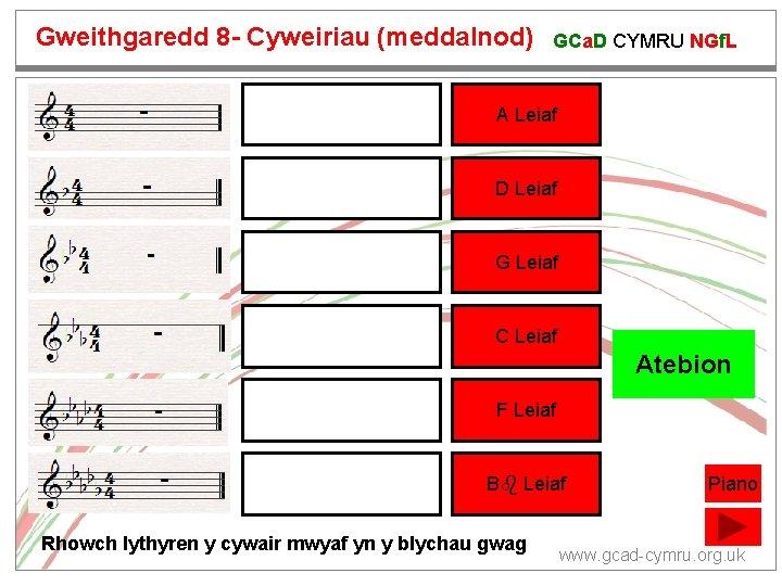 Gweithgaredd 8 - Cyweiriau (meddalnod) GCa. D CYMRU NGf. L A Leiaf D Leiaf