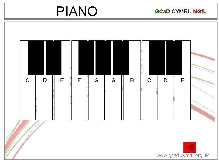 PIANO C# C D# D F# E F GCa. D CYMRU NGf. L G#