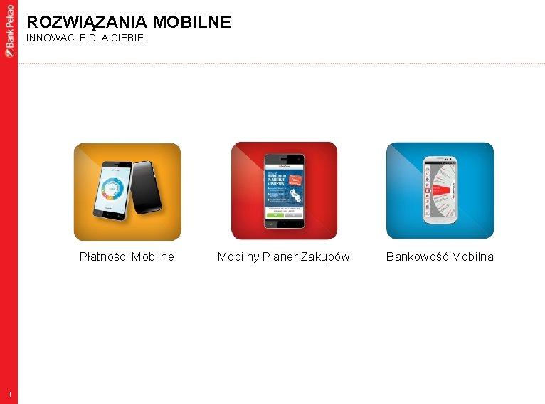 ROZWIĄZANIA MOBILNE INNOWACJE DLA CIEBIE Płatności Mobilne 1 Mobilny Planer Zakupów Bankowość Mobilna