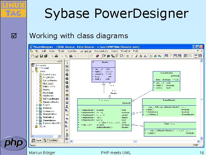 Sybase Power. Designer þ Working with class diagrams Marcus Börger PHP meets UML 16