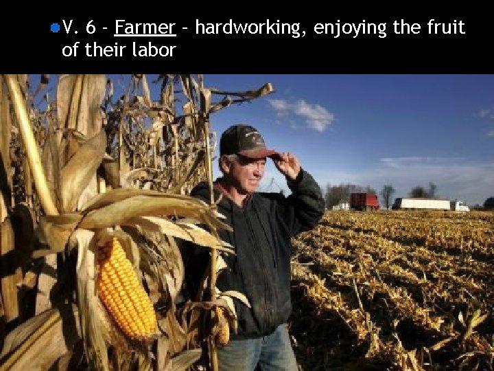 V. 6 - Farmer – hardworking, enjoying the fruit of their labor