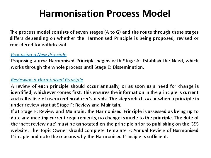 Harmonisation Process Model The process model consists of seven stages (A to G) and
