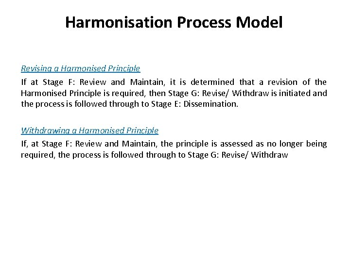 Harmonisation Process Model Revising a Harmonised Principle If at Stage F: Review and Maintain,