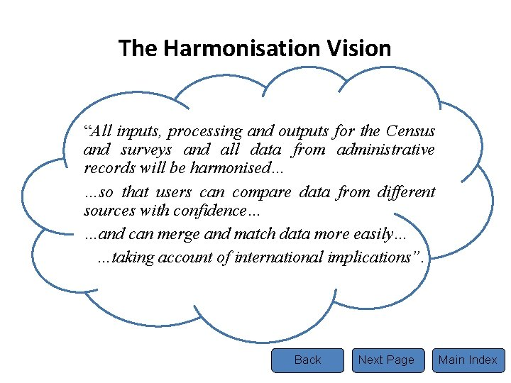 """The Harmonisation Vision """"All inputs, processing and outputs for the Census and surveys and"""