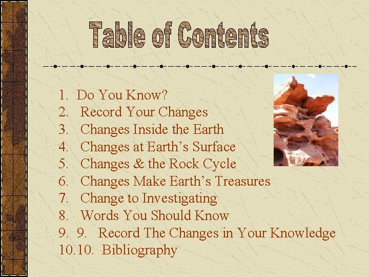 1. Do You Know? 2. Record Your Changes 3. Changes Inside the Earth 4.
