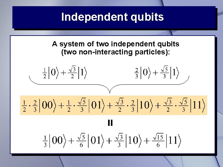 Independent qubits = A system of two independent qubits (two non-interacting particles):