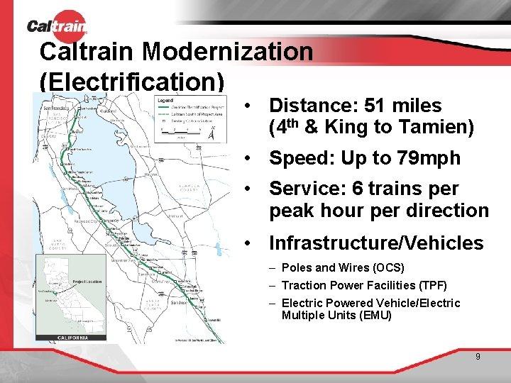 Caltrain Modernization (Electrification) • Distance: 51 miles (4 th & King to Tamien) •