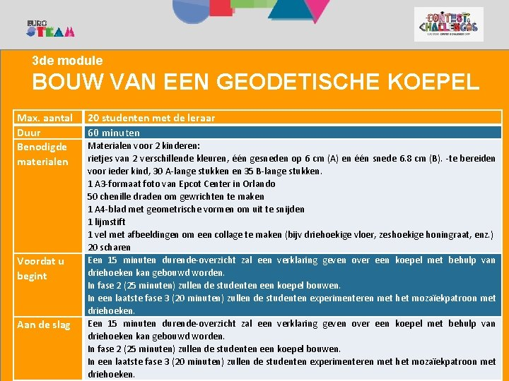 1. KANPALDIA 2. Camp Contest and Challenges Camp 3 de module BOUW VAN EEN