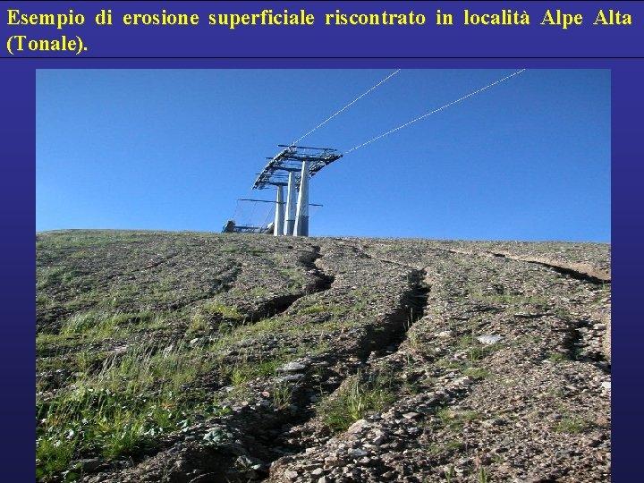 Esempio di erosione superficiale riscontrato in località Alpe Alta (Tonale).