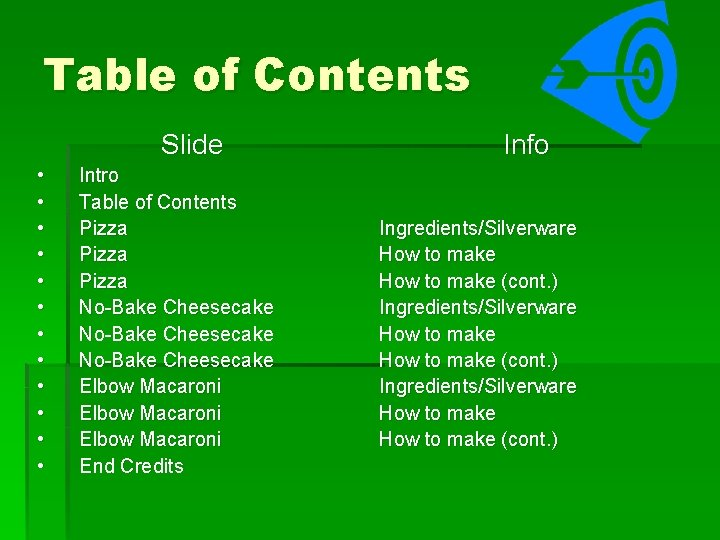 Table of Contents Slide • • • Intro Table of Contents Pizza No-Bake Cheesecake