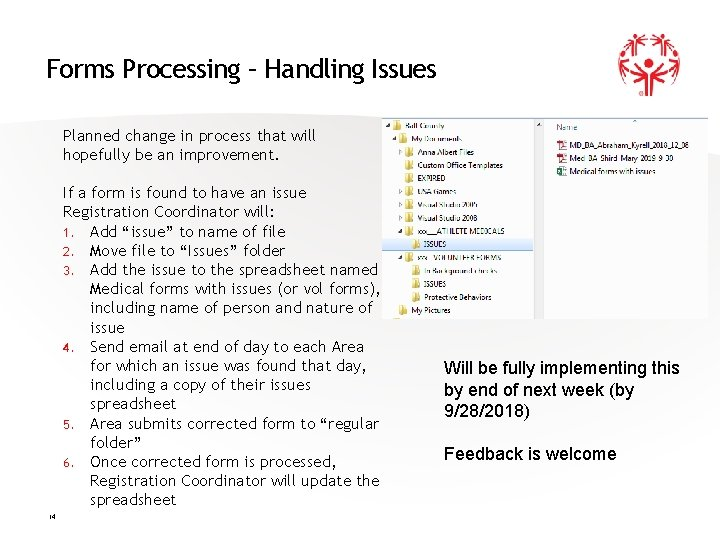 Forms Processing – Handling Issues Planned change in process that will hopefully be an