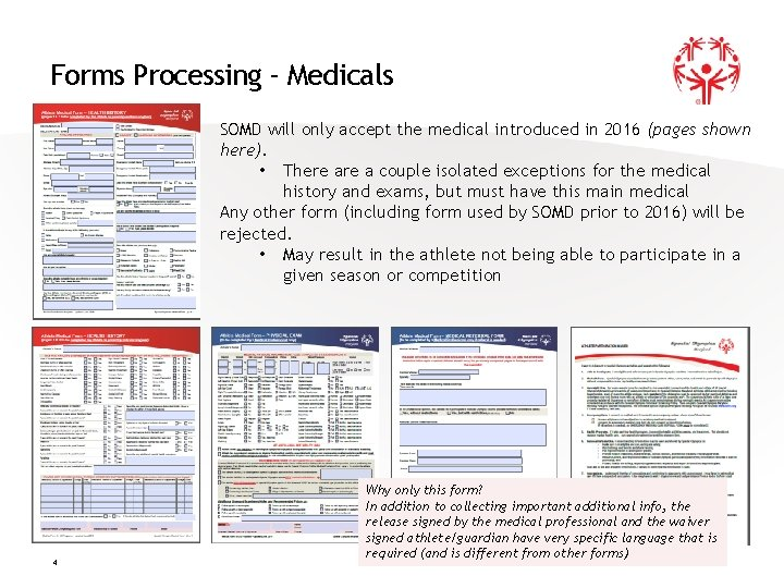 Forms Processing - Medicals SOMD will only accept the medical introduced in 2016 (pages