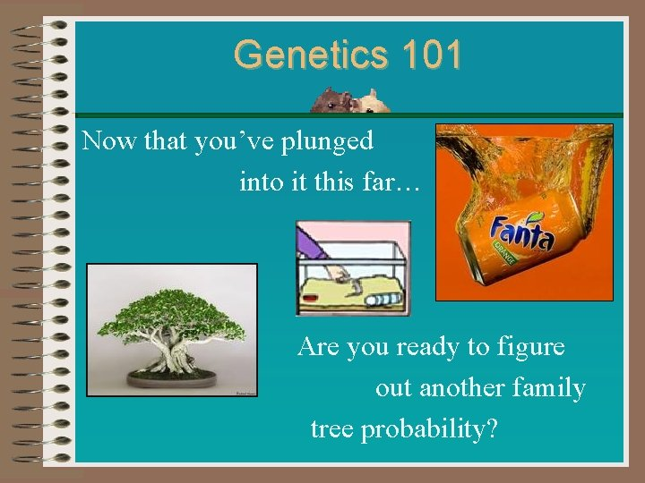 Genetics 101 Now that you've plunged into it this far… Are you ready to