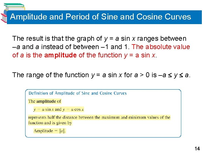 Amplitude and Period of Sine and Cosine Curves The result is that the graph