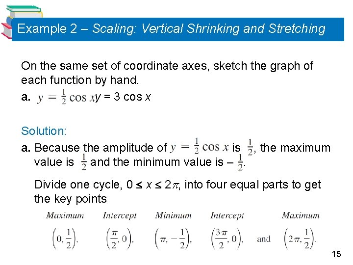 Example 2 – Scaling: Vertical Shrinking and Stretching On the same set of coordinate