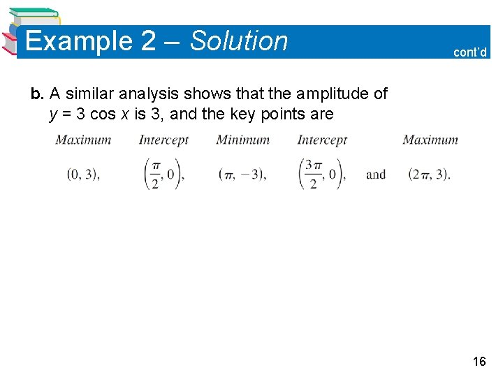 Example 2 – Solution cont'd b. A similar analysis shows that the amplitude of