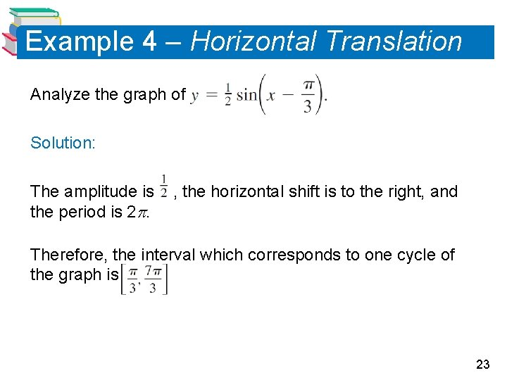 Example 4 – Horizontal Translation Analyze the graph of Solution: The amplitude is the