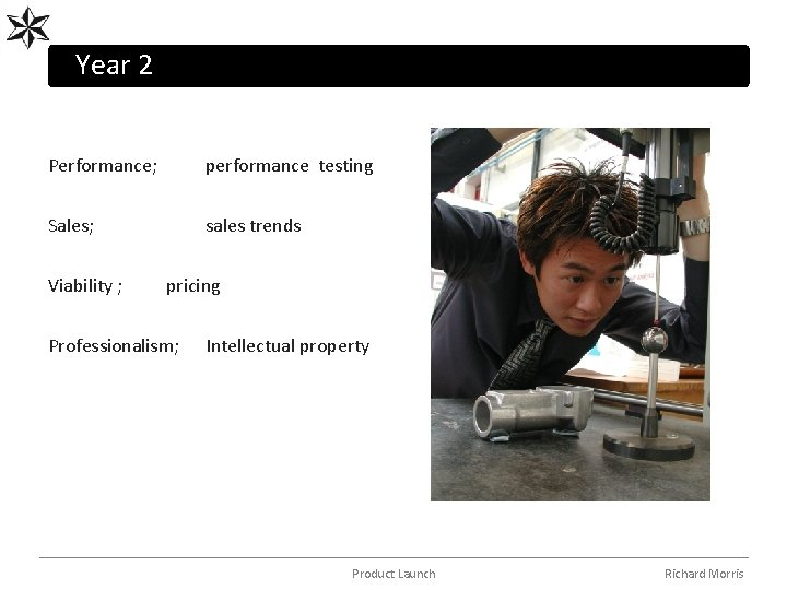 Year 2 Performance; performance testing Sales; sales trends Viability ; pricing Professionalism; Intellectual property