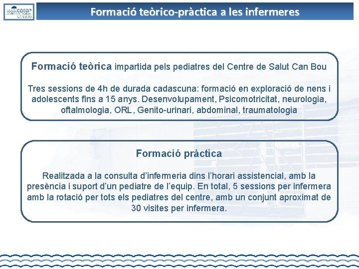 Formació teòrico-pràctica a les infermeres Formació teòrica impartida pels pediatres del Centre de Salut