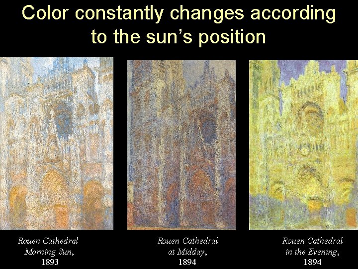 Color constantly changes according to the sun's position Rouen Cathedral Morning Sun, 1893 Rouen