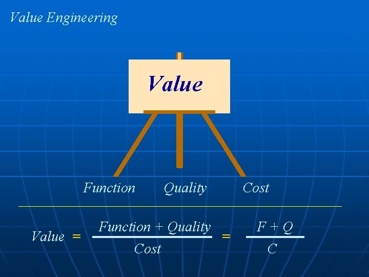 Value Engineering Value Function Value = Quality Function + Quality Cost = F+Q C
