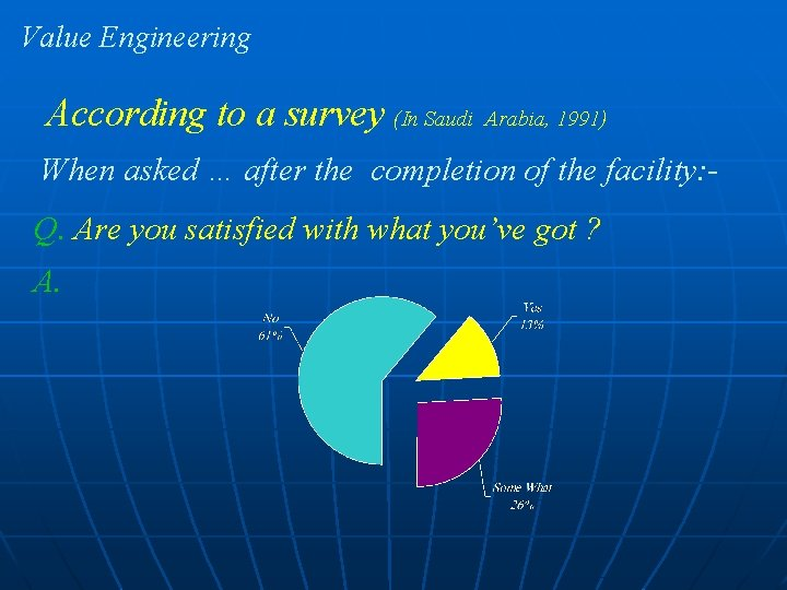 Value Engineering According to a survey (In Saudi Arabia, 1991) When asked … after