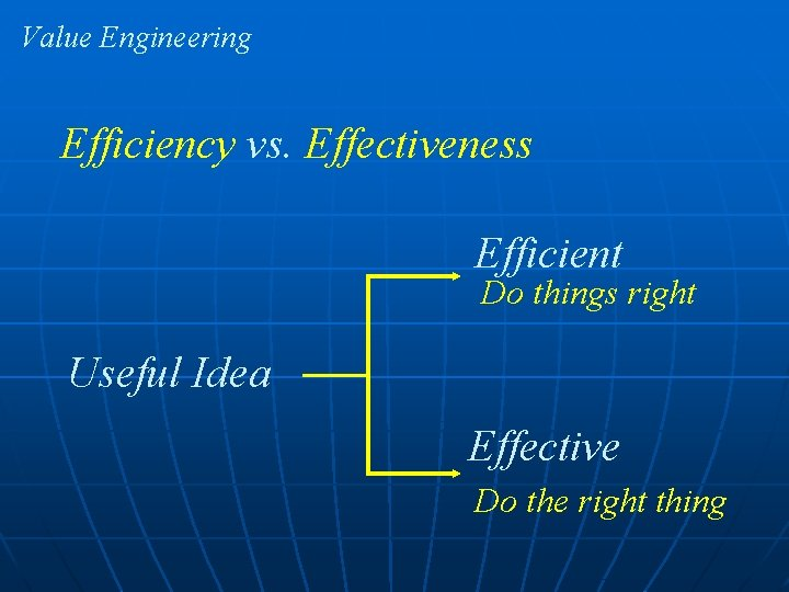 Value Engineering Efficiency vs. Effectiveness Efficient Do things right Useful Idea Effective Do the