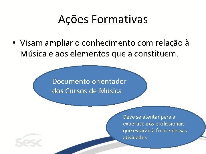Ações Formativas • Visam ampliar o conhecimento com relação à Música e aos elementos
