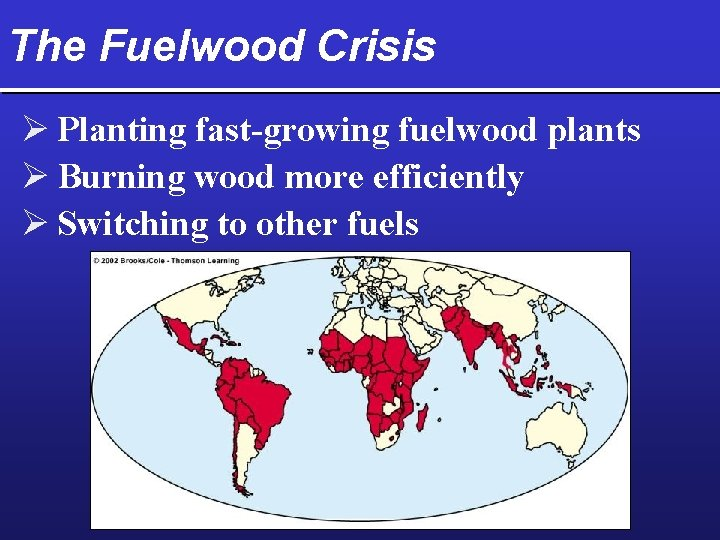 The Fuelwood Crisis Ø Planting fast-growing fuelwood plants Ø Burning wood more efficiently Ø