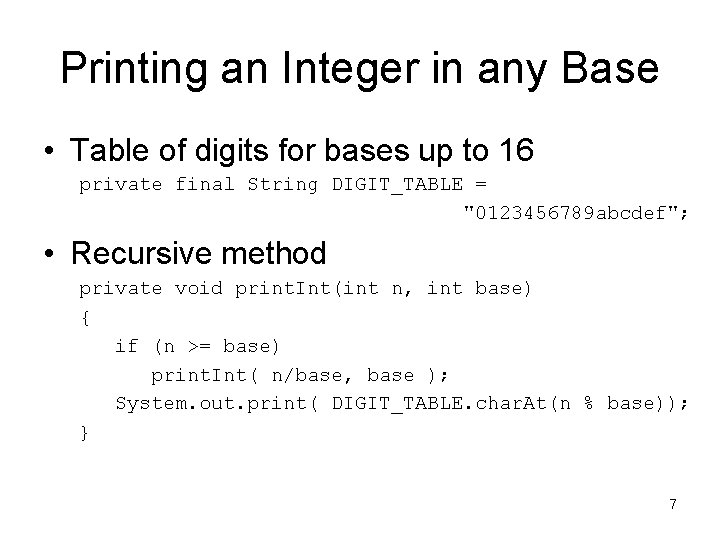 Printing an Integer in any Base • Table of digits for bases up to